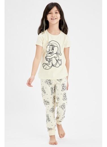 DeFacto Kız Çocuk Lola Bunny Lisanslı Kısa Kol Pijama Takımı Sarı